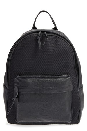 Poverty Flats By Rian Sport Faux Leather Mesh Backpack