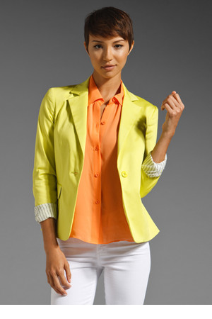 Alice Olivia Elyse Blazer in Neon Yellow