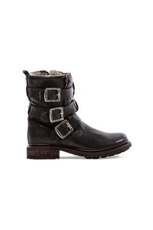 Frye Valerie Shearling Strappy Boot in Black