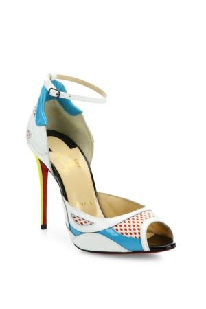 Christian Louboutin Colorblock Leather Mesh Ankle Strap Peep Toe Pumps