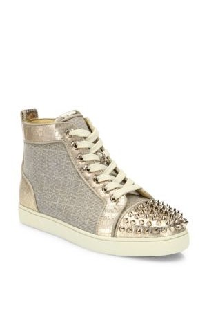 Christian Louboutin Lou Spikes Metallic High Top Sneakers