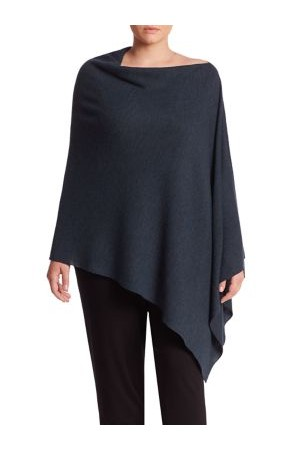 Eileen Fisher Plus Size Asymmetrical Merino Wool Poncho
