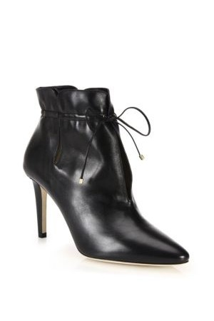 Jimmy Choo Murphy 85 Cinched Leather Point Toe Booties