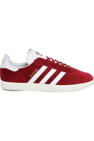 Adidas Gazelle Lace Up Suede Trainers Burgundy white gold