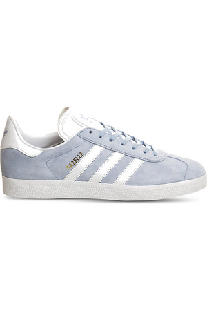 Adidas Gazelle Lace Up Suede Trainers Sky white gold met