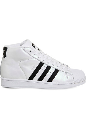 Adidas Pro Model Glossy Leather Trainers Glossy white black