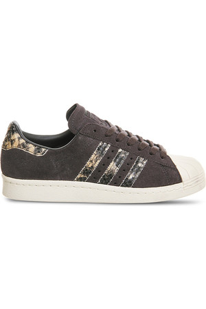 Adidas Superstar 80s Reptile Effect Suede Trainers Black white snake w