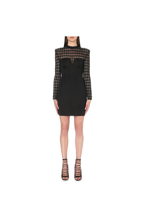 Balmain Harlequin Stretch Knit Dress Noir