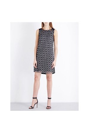 Diane Von Furstenberg Joylyn Embellished Shift Dress Black white