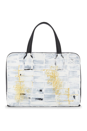 Loewe Goya Hand Painted Leather Holdall Black white gold