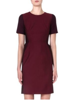 Paul Smith Black Contrast Panel Wool Blend Dress Burgundy