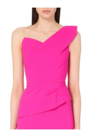 Roland Mouret Keiko One Shoulder Wool Crepe Top Hot Pink