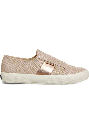 Superga 2750 Laceless Snake Embossed Trainers Pink snake rose