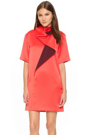 Kenzo Cowl Neck Colorblock Dress
