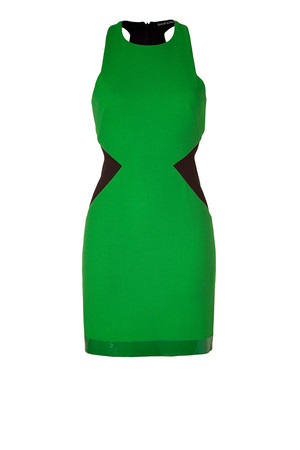 David Koma Green black Contrast Side Panel Dress With Leather Trim