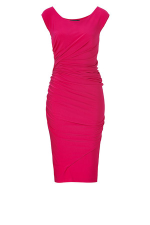 Donna Karan Shocking Pink Cap Sleeve Draped Jersey Dress