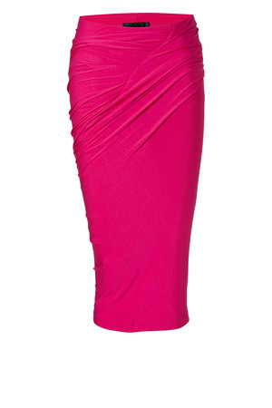 Donna Karan Shocking Pink Draped Jersey Skirt
