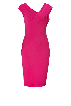 Donna Karan Shocking Pink Patchworked Jersey Dress