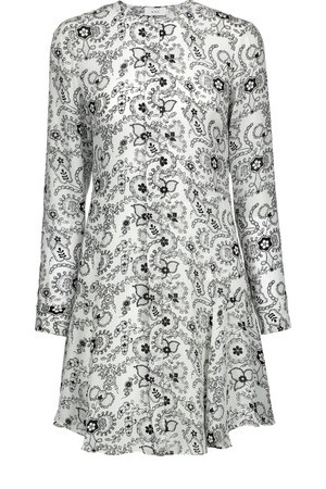 ALC ALC Randi Ruffled Printed Silk Mini Dress White