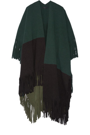 Burberry Burberry Color block Fringed Wool blend Felt Poncho Forest green