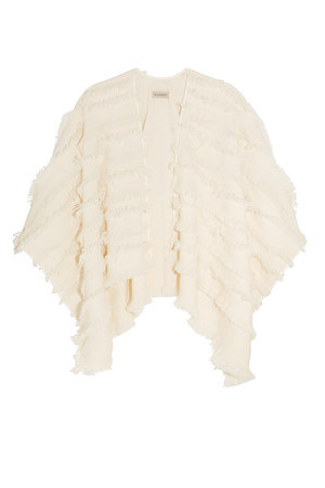 Burberry Burberry London Fringed Wool And Cashmere blend Poncho Cream