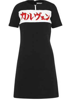 Carven Carven Printed Waffle knit Cotton blend Mini Dress Black