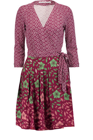 Diane von Furstenberg Diane von Furstenberg Jewel Printed Silk And Cotton And Silk blend Wrap Dress Plum