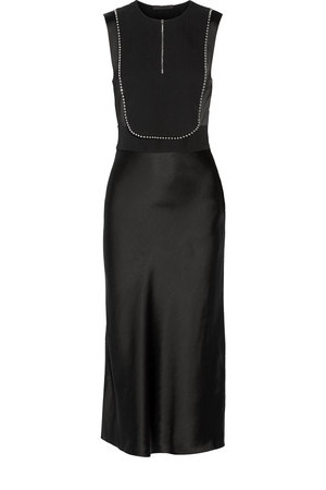 Alexander Wang Alexander Wang Embellished Silk Georgette Paneled Crepe And Satin Dress Black