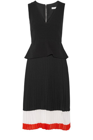 Altuzarra Altuzarra Flamingo Crepe And Pleated Silk Chiffon Dress Black