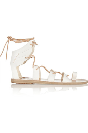 Ancient Greek Sandals Fteroti Leather Lace Up Sandals