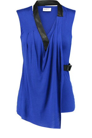 Bailey 44 Bailey 44 Wrap Effect Leather Trimmed Jersey Top Royal Blue
