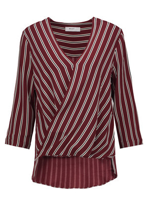 Bailey 44 Bailey 44 Wrap Effect Striped Crepe Top Burgundy