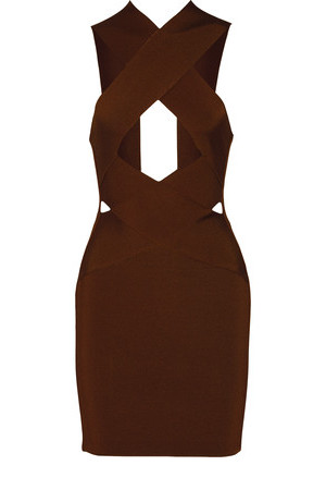 Balmain Balmain Cutout Stretch Knit Mini Dress Chocolate