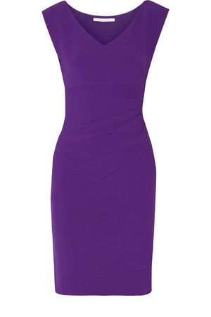 Diane von Furstenberg Diane Von Furstenberg Bevin Ruched Stretch Crepe Dress Purple