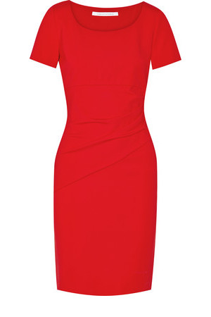 Diane von Furstenberg Diane Von Furstenberg Bevina Gathered Stretch Jersey Dress Tomato Red