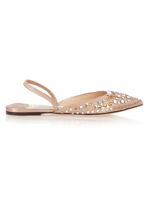 Jimmy Choo Jimmy Choo Genoa Embellished Metallic Leather Point Toe Flats Gold