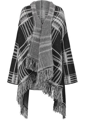 Maje Maje Checked Knitted Poncho Anthracite