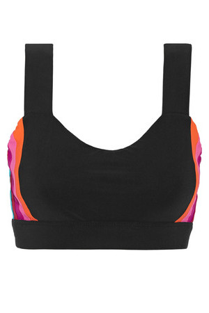 No KaOi No Kaoi Hina Paneled Stretch Jersey Sports Bra Black