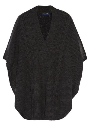 Splendid Splendid Sierra Faux Leather Trimmed Cable Knit Poncho Charcoal