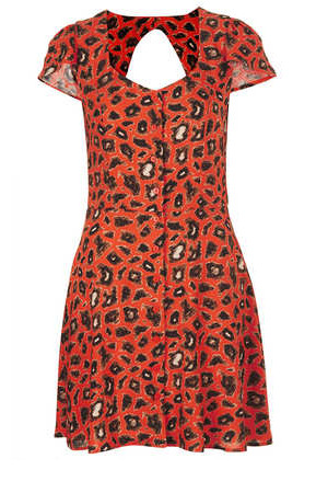 Topshop Animal Open Back Tea Dress