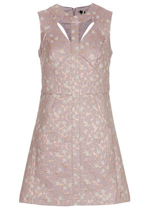 Topshop Floral Brocade Cut Out Dress