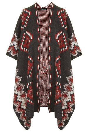Topshop UK Aztec Knit Cape