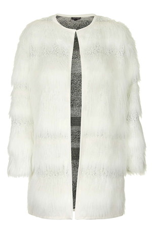 Topshop UK Faux Fur Stripe Coat