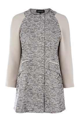 Warehouse Tweed Contrast Sleeve Coat