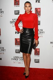Get The Look Naya Rivera Red Blouse Amp Black Leather Skirt