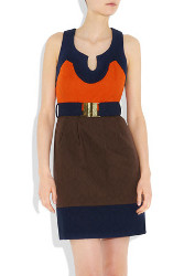 Milly Imara Color Block Textured Cotton Dress