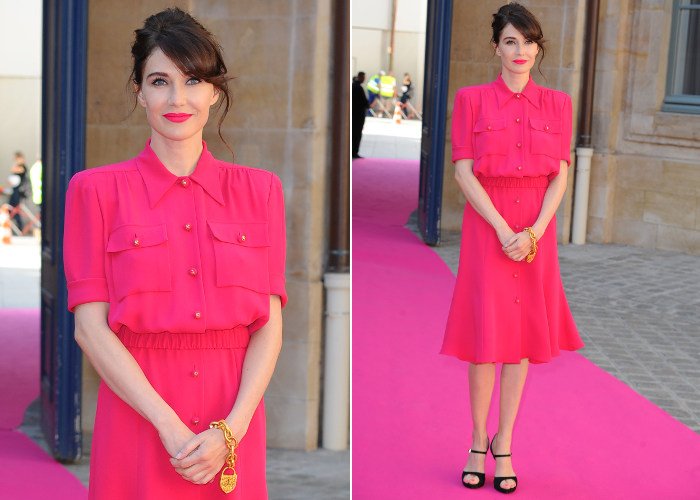 Carice Van Houten pink dress at Paris Fashion Week