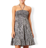 Accessorize Mono Feather Print Bandeau Dress