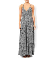 Accessorize Mono Feather Print Maxi Dress