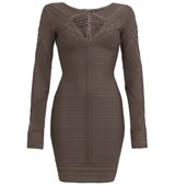 Aftershock Anata Grey Long Sleeve Bodycon Dress